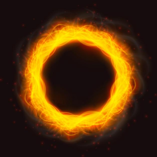 Chamas de fogo poderosas de um anel Vetor grátis
