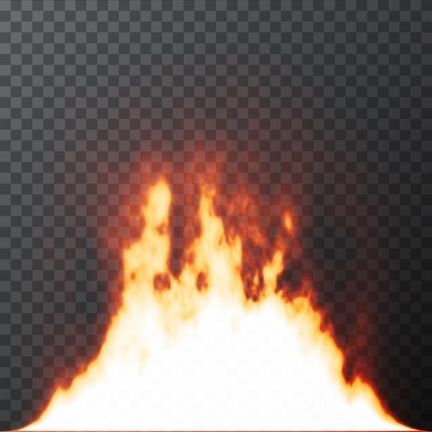 Chamas de fogo realista no fundo da grelha transparente Vetor Premium