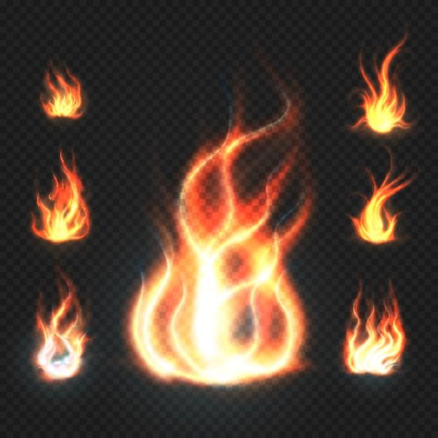 Chamas de fogo realistas de laranja e vermelho Vetor Premium