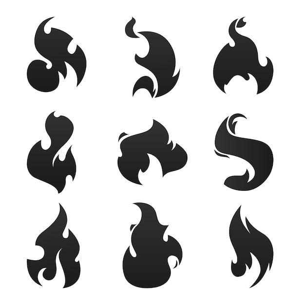 Chamas fogo negro Vetor Premium
