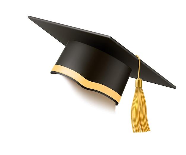 Chapéu de argamassa realista com borla dourada. chapéu preto de formatura universitária. símbolo de educação acadêmica, headware de bacharel do ensino médio. Vetor Premium