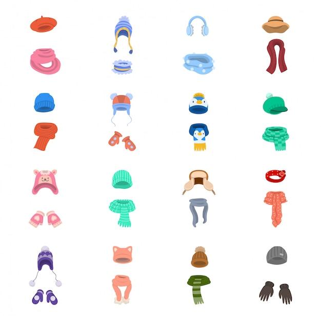 Chapéu de cachecol conjunto de ícones dos desenhos animados Vetor Premium