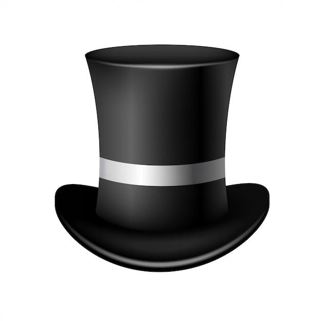 Chapéu de cilindro clássico em branco Vetor Premium