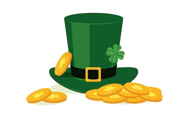 Chapéu de duende verde com trevo de quatro folhas e moedas de ouro Vetor Premium