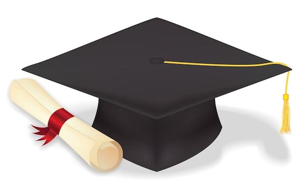 Chapéu de formatura de estudante com diploma Vetor Premium