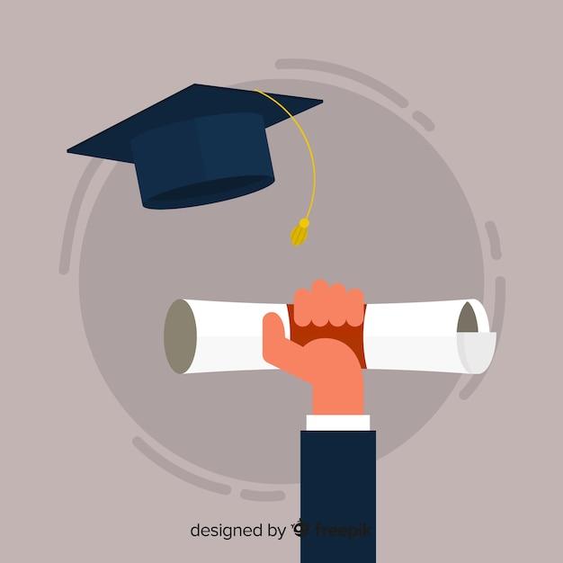 Chapéu de formatura e diploma com design plano Vetor grátis