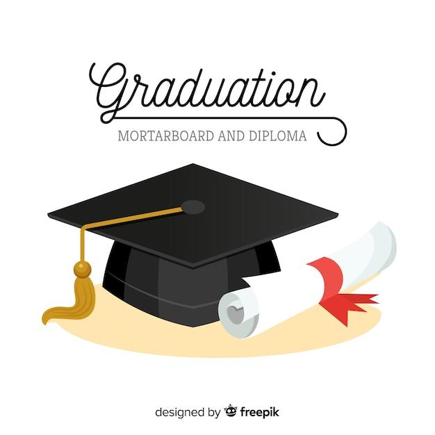 Chapéu de formatura e diploma com design plano Vetor Premium