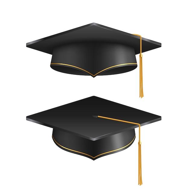 Chapéu de formatura isolado no fundo branco Vetor Premium