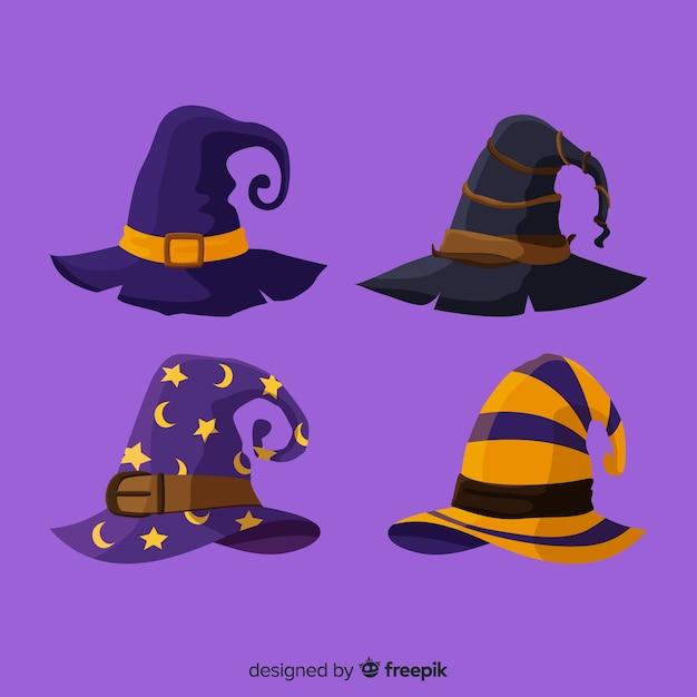 Chapéu de halloween collectio Vetor Premium