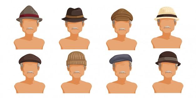 Chapéu de homem idoso coleção de cabeça masculina. Vetor Premium