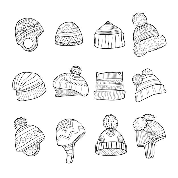 Chapéu de inverno. roupas para a estação fria e orelhas quentes balançando fotos de doodle Vetor Premium