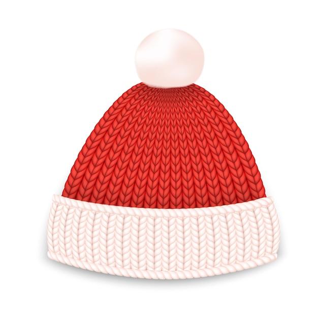Chapéu de inverno vermelho. Vetor Premium