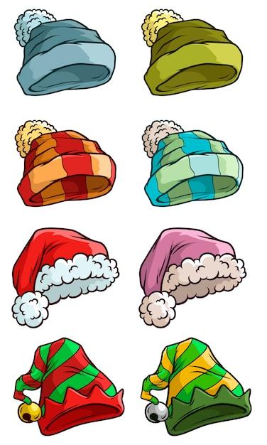 Chapéu de papai noel de inverno dos desenhos animados grande conjunto de vetores Vetor Premium