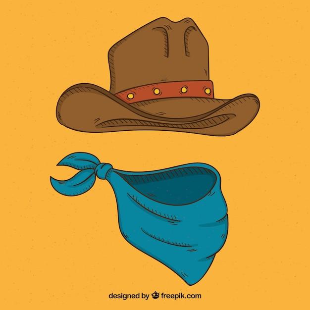 Chapéu de vaqueiro e cachecol Vetor grátis