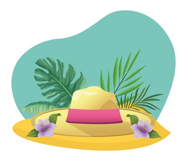 Chapéu de verão com folhagem tropical Vetor Premium