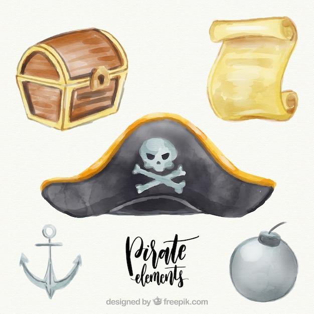 Chapéu do capitão e outros elementos da aguarela Vetor grátis