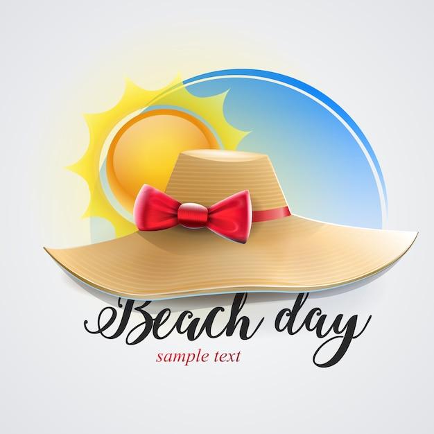 Chapéu feminino para dia de praia Vetor Premium