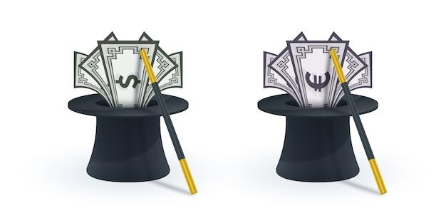 Chapéu mágico com varinha mágica e notas Vetor Premium