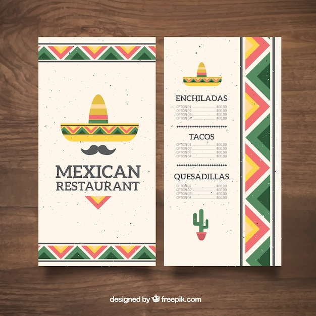Chapéu mexicano plano e bigode menu de comida mexicana Vetor grátis