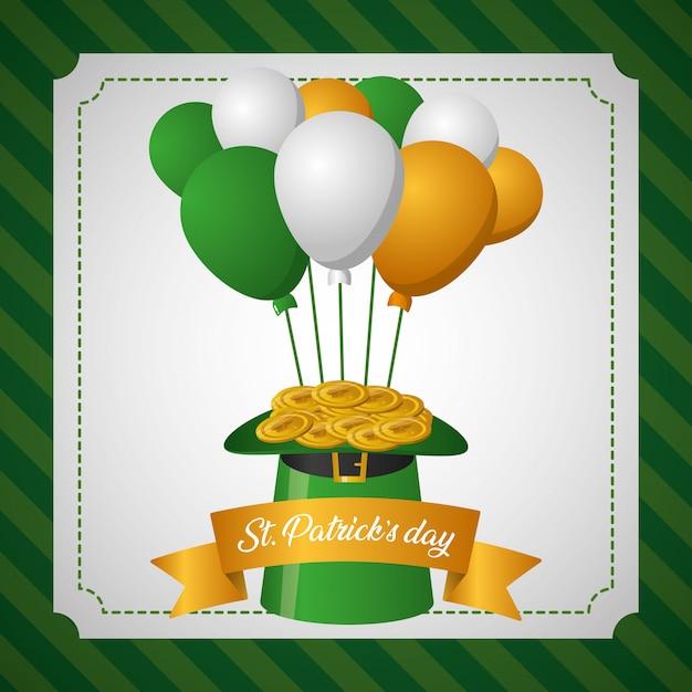 Chapéu verde com balões irlandeses, cartão de dia de são patrício Vetor grátis