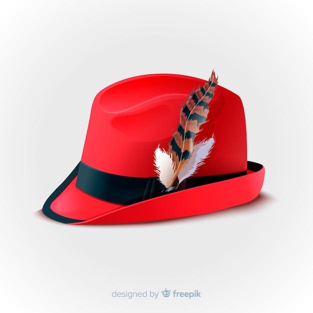 Chapéu vermelho oktoberfest realista Vetor grátis