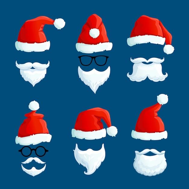 Chapéus de papai noel com bigode e barbas. desenhos animados frente santa vestindo. Vetor Premium