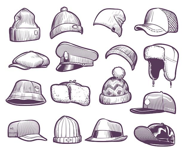 Chapéus sketch. bonés da moda masculina. esportes e malha, boné de beisebol e caminhoneiro, chapéus sazonais com coleção de protetores de orelha quentes Vetor Premium
