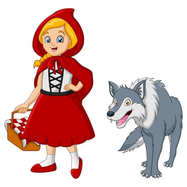 Chapeuzinho vermelho com lobo Vetor Premium
