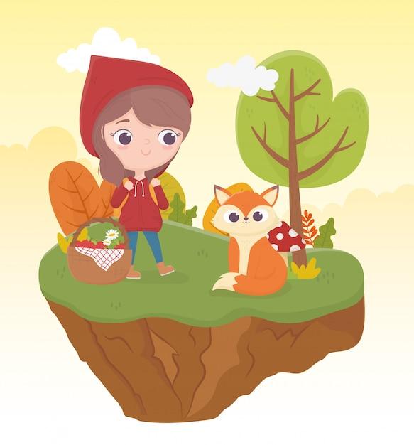 Chapeuzinho vermelho lobo e bakset comida vegetação natureza conto de fadas ilustração dos desenhos animados Vetor Premium