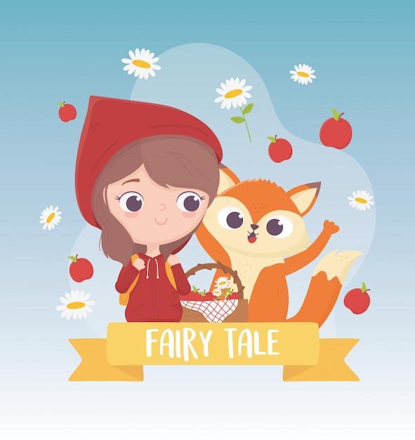 Chapeuzinho vermelho maçãs e flores de lobo com cesta de conto de fadas dos desenhos animados cartão Vetor Premium