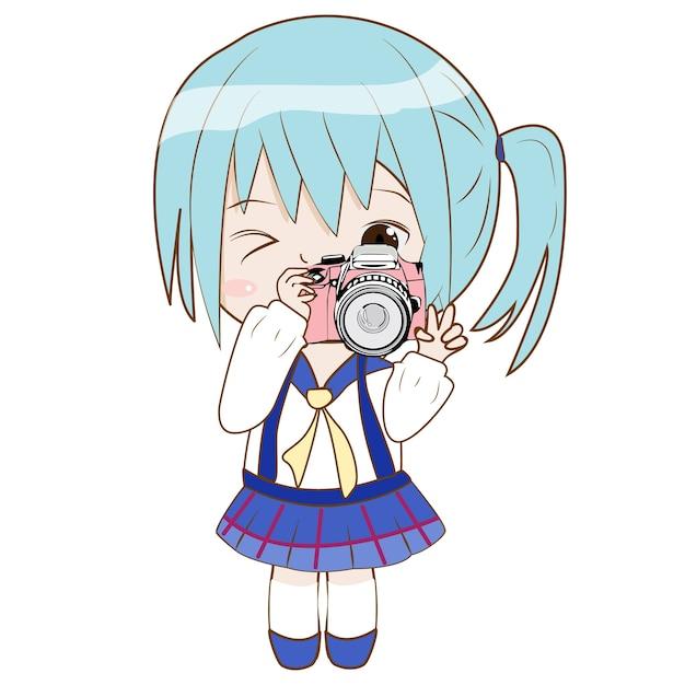 Charactor de menina bonito dos desenhos animados tirar uma câmera para filmar a foto Vetor Premium