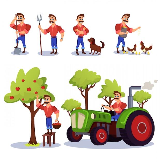 Charecter de fazendeiro trabalhando na fazenda com animais. Vetor Premium