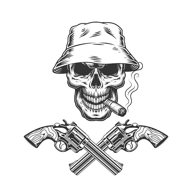 Charuto de fumar crânio no chapéu panamá Vetor grátis