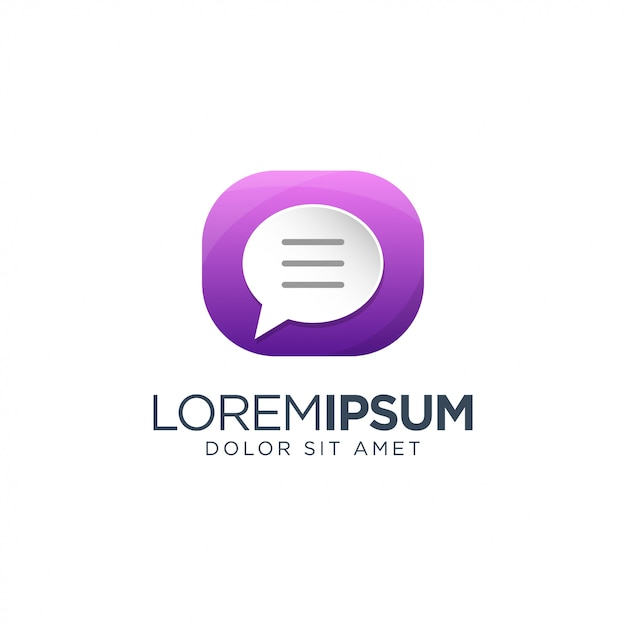 Chat logo design Vetor Premium