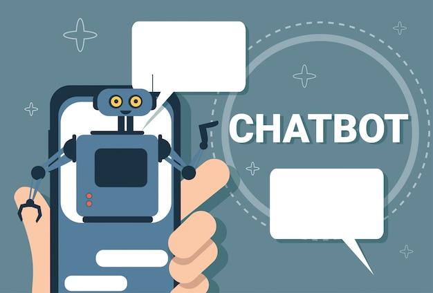 Chatbot conceito suporte robot tecnologia digital chat bot aplicação no telefone inteligente Vetor Premium