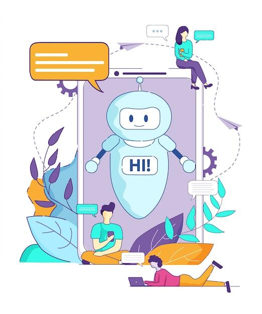 Chatbot diz oi navegador de inteligência artificial. Vetor Premium