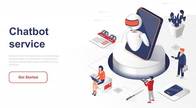 Chatbot isométrico da página de destino ou inteligência artificial Vetor Premium