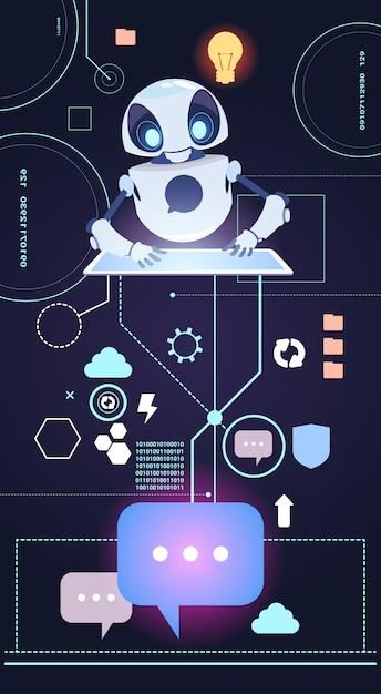 Chatbot robot technology, perguntas da resposta do bot de chatter Vetor Premium