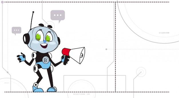 Chatbot segure megafone Vetor Premium