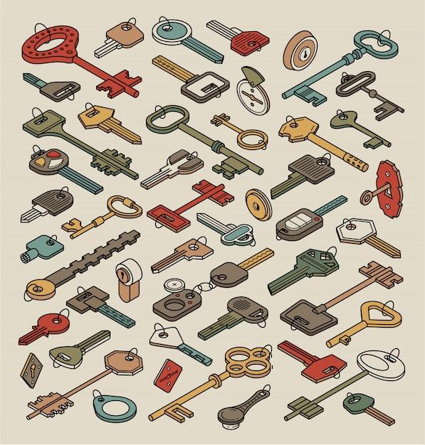 Chave de contorno vintage e coleção de cadeado isolada. chaves isométricas antigas para portas e carros Vetor Premium