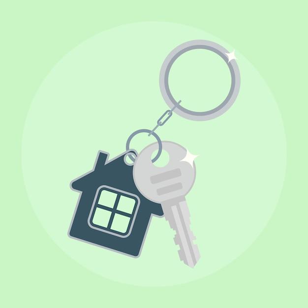 Chave de ferro da casa. compra de casa, aluguel de propriedade Vetor Premium
