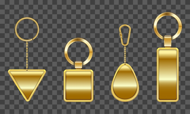 Chaveiro dourado, suporte para chave com corrente Vetor grátis