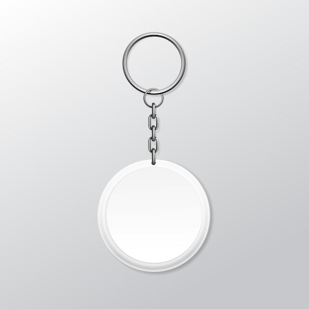 Chaveiro redondo em branco com anel e corrente para chave isolado no fundo branco Vetor Premium
