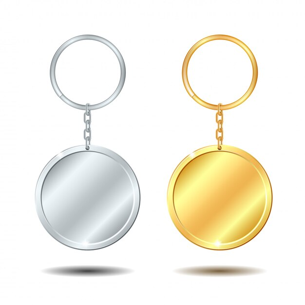 Chaveiros de metal modelo definido círculo dourado e prateado Vetor Premium