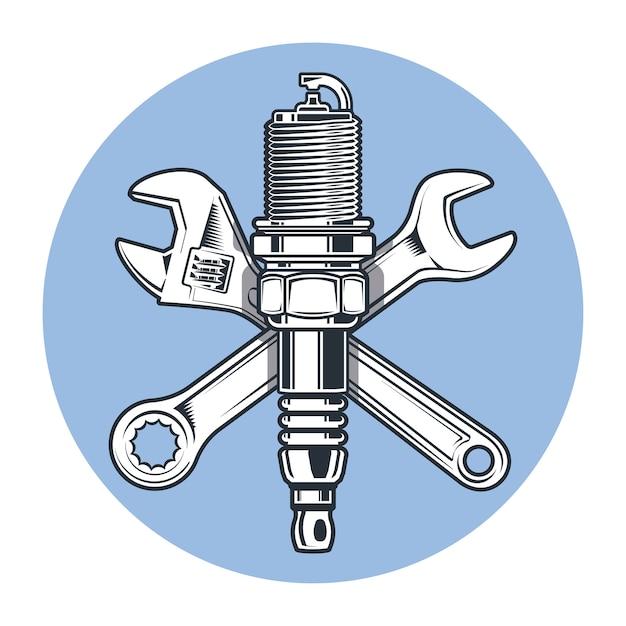 Chaves e vela de ignição. chave de boca ajustável. ferramentas e reparos. Vetor Premium