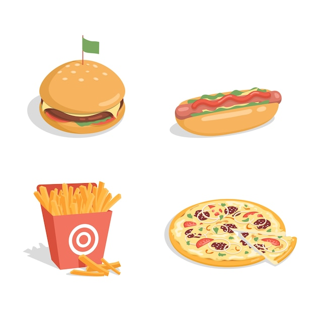 Cheeseburger, cachorro-quente, batata frita e pizza Vetor Premium