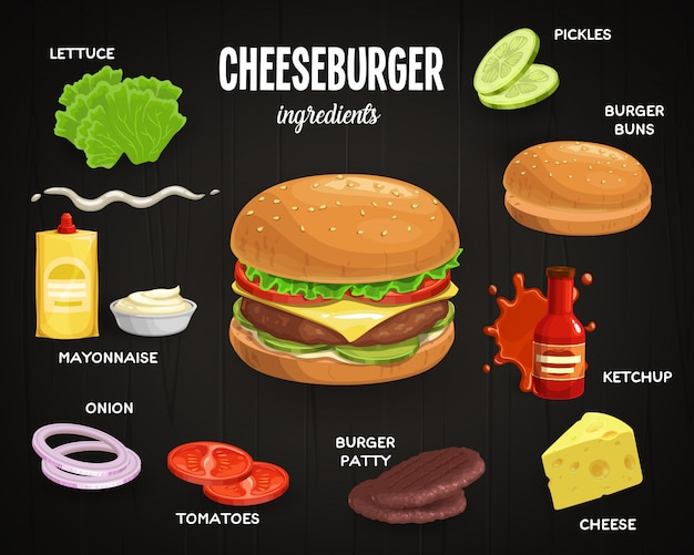 Cheeseburger ingredientes fast food Vetor Premium