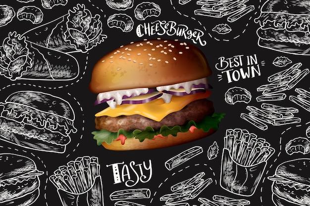 Cheeseburger realista no fundo do quadro-negro Vetor grátis