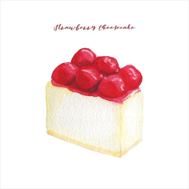 Cheesecake de morango em aquarela Vetor Premium