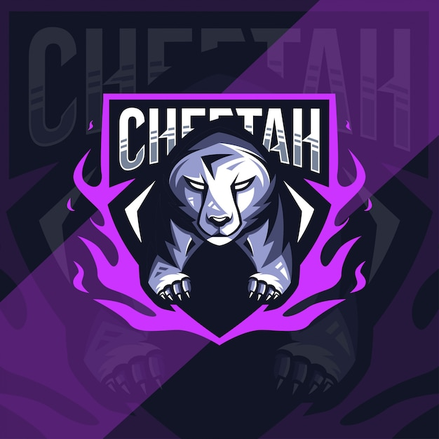 Cheetah mascot logo esport design Vetor Premium